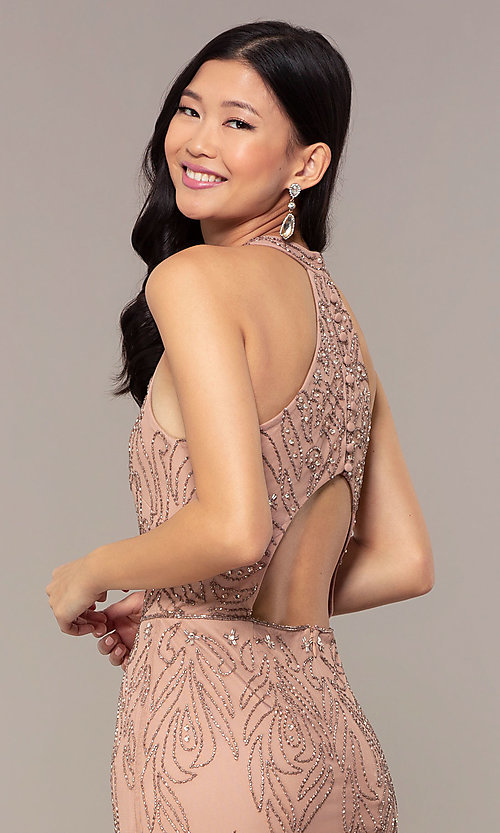 Image of rose gold pink long beaded formal prom dress. Style: HOW-APPBM-40165 Detail Image 2