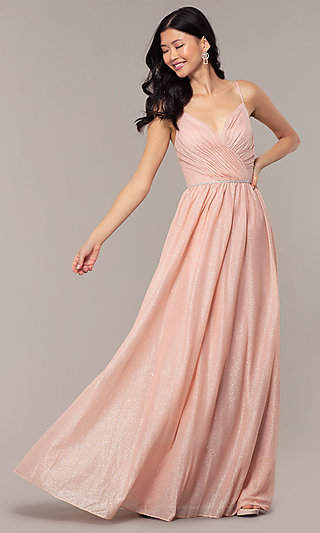 V-Neck Long Glitter Prom Dress with Pleated Bodice
