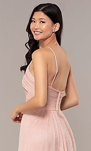 Image of long glitter formal prom dress with ruched bodice. Style: HOW-CWC-22879 Detail Image 2