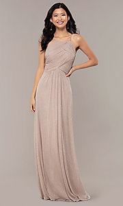 Image of long glitter formal prom dress with ruched bodice. Style: HOW-CWC-22879 Front Image
