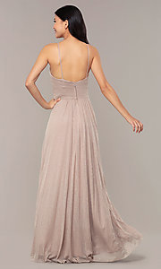 Image of long glitter formal prom dress with ruched bodice. Style: HOW-CWC-22879 Back Image