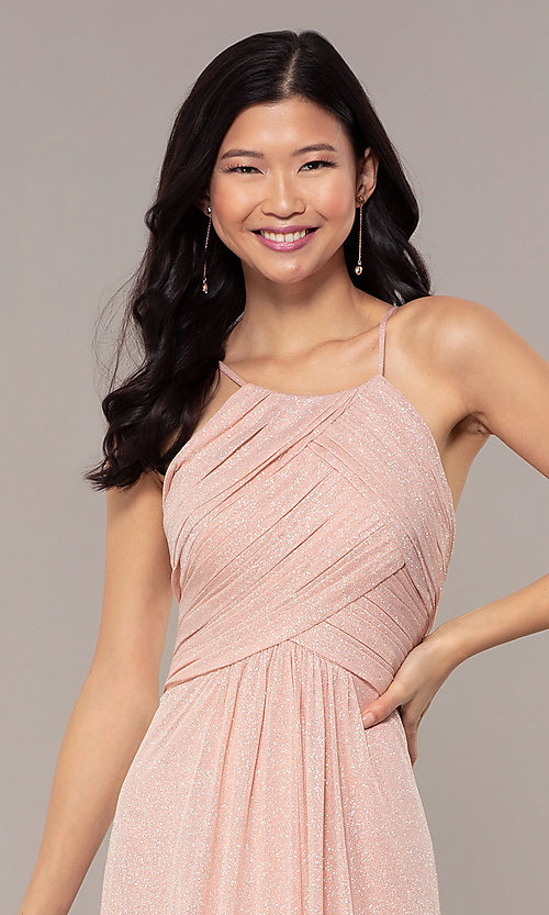 Image of long glitter formal prom dress with ruched bodice. Style: HOW-CWC-22879 Detail Image 1