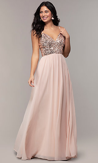 Long Sequin-Bodice Chiffon Prom Dress by PromGirl