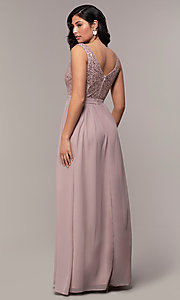 Image of long sequin-lace-bodice prom dress by PromGirl. Style: LP-PL-24017-1 Back Image