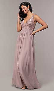 Image of long sequin-lace-bodice prom dress by PromGirl. Style: LP-PL-24017-1 Detail Image 3
