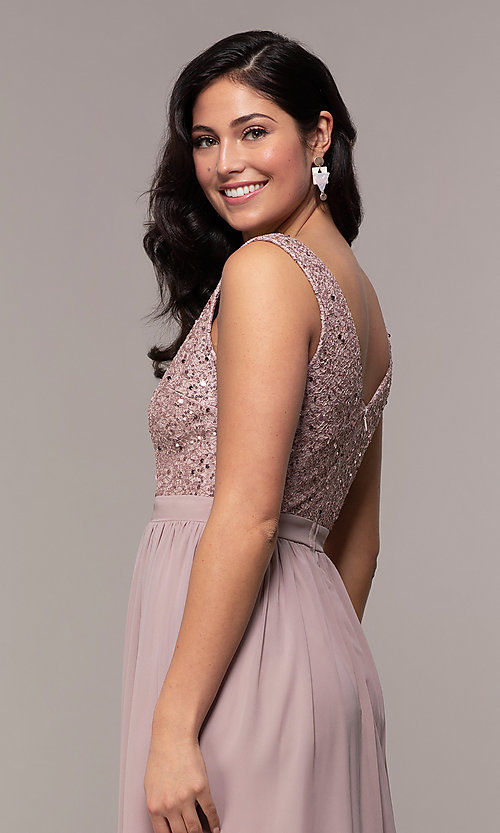 Image of long sequin-lace-bodice prom dress by PromGirl. Style: LP-PL-24017-1 Detail Image 2