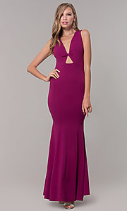 Image of fitted long formal v-neck open-back dress. Style: CL-46933 Detail Image 5