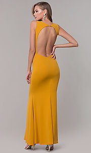 Image of fitted long formal v-neck open-back dress. Style: CL-46933 Detail Image 8