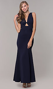 Image of fitted long formal v-neck open-back dress. Style: CL-46933 Front Image