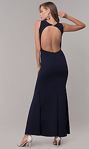 Image of fitted long formal v-neck open-back dress. Style: CL-46933 Back Image
