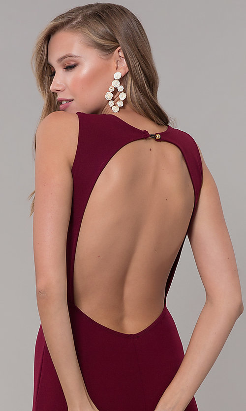 Image of fitted long formal v-neck open-back dress. Style: CL-46933 Detail Image 2