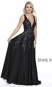 Image of long Shail K a-line v-neck prom dress. Style: SK-12207 Detail Image 6