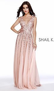 Image of long Shail K a-line v-neck prom dress. Style: SK-12207 Detail Image 4