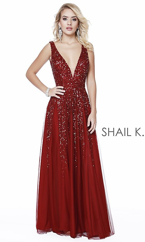 Image of long Shail K a-line v-neck prom dress. Style: SK-12207 Detail Image 8