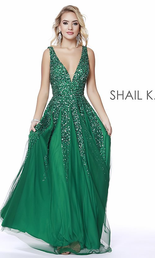 Image of long Shail K a-line v-neck prom dress. Style: SK-12207 Detail Image 7
