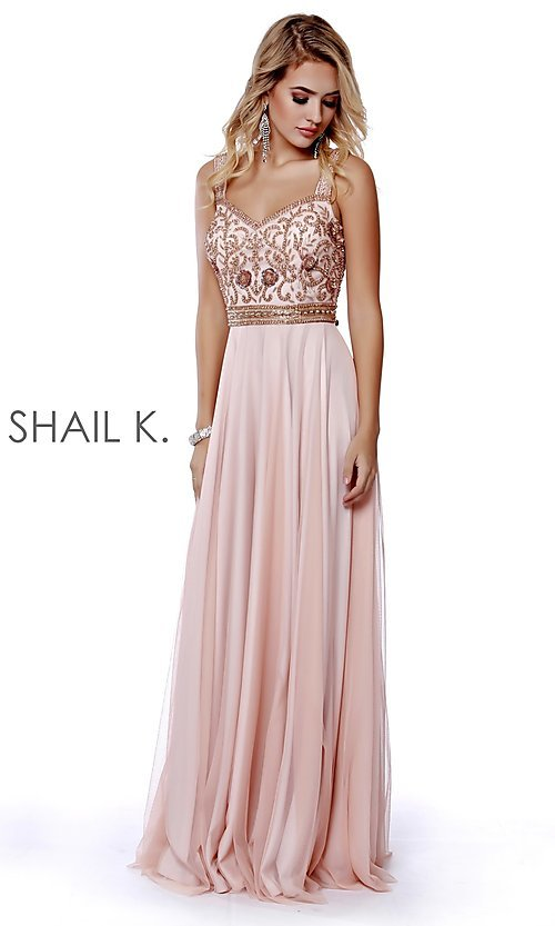 Image of long v-neck a-line formal prom dress by Shail K. Style: SK-12213 Front Image