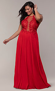 Image of long sleeveless plus-size prom dress by Faviana. Style: FA-9472 Detail Image 4