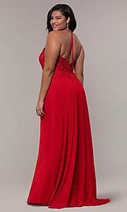 Image of long sleeveless plus-size prom dress by Faviana. Style: FA-9472 Detail Image 5
