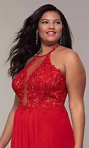 Image of long sleeveless plus-size prom dress by Faviana. Style: FA-9472 Detail Image 6