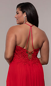 Image of long sleeveless plus-size prom dress by Faviana. Style: FA-9472 Detail Image 7