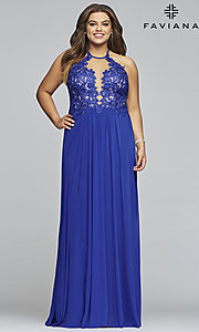 Image of long sleeveless plus-size prom dress by Faviana. Style: FA-9472 Front Image