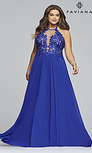 Image of long sleeveless plus-size prom dress by Faviana. Style: FA-9472 Detail Image 3
