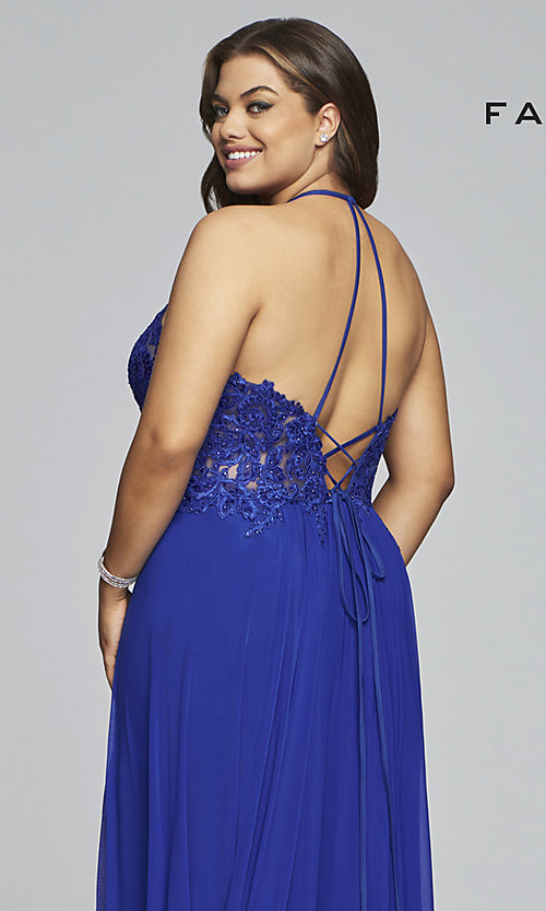 Image of long sleeveless plus-size prom dress by Faviana. Style: FA-9472 Detail Image 2
