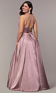 Image of long sleeveless Faviana plus-size prom dress. Style: FA-9469 Back Image