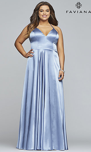 Long Sleeveless Faviana Plus-Size Prom Dress