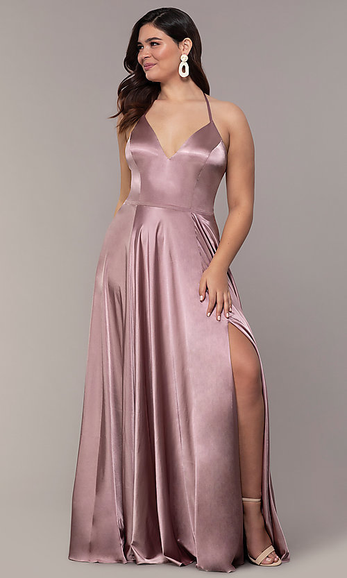 Image of long sleeveless Faviana plus-size prom dress. Style: FA-9469 Detail Image 3