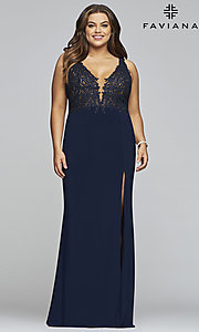 Image of plus-size Faviana long formal prom dress with slit. Style: FA-9463 Front Image