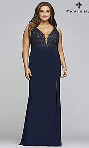 Image of plus-size Faviana long formal prom dress with slit. Style: FA-9463 Detail Image 3
