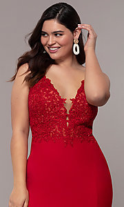 Image of plus-size Faviana long formal prom dress with slit. Style: FA-9463 Detail Image 6