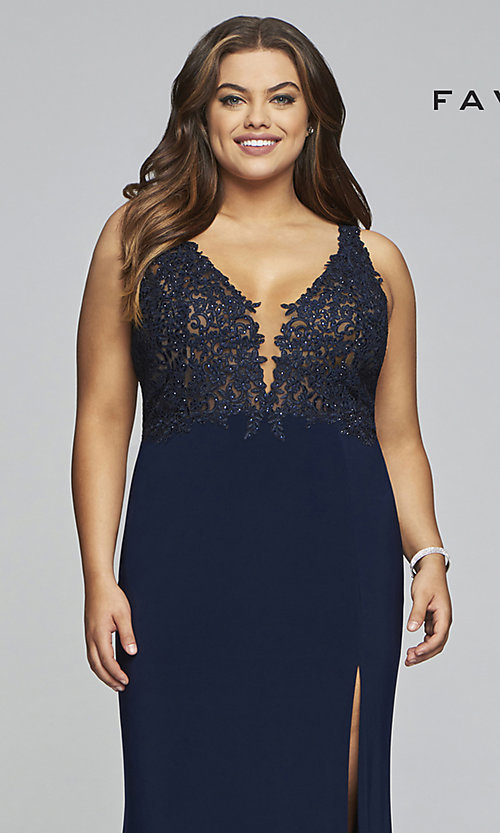 Image of plus-size Faviana long formal prom dress with slit. Style: FA-9463 Detail Image 1