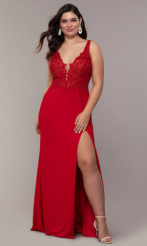 Image of plus-size Faviana long formal prom dress with slit. Style: FA-9463 Detail Image 4