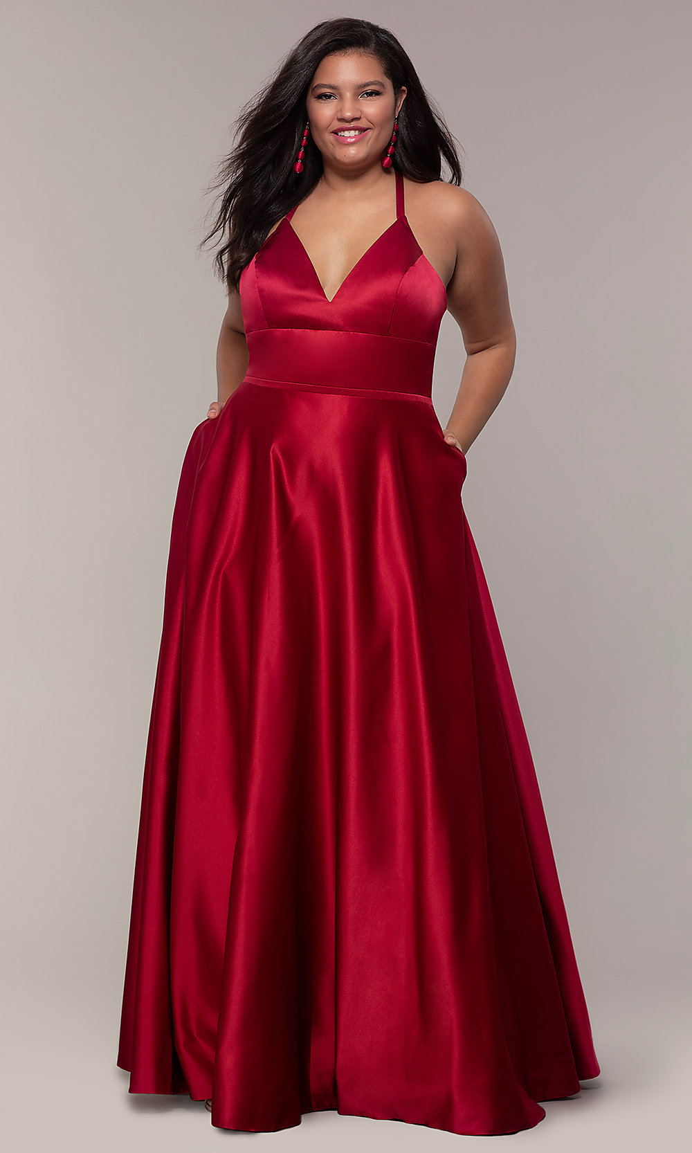 A-Line Satin Plus-Size Prom Dress with Corset