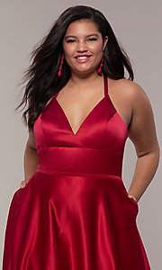 Image of a-line satin plus-size prom dress with corset. Style: FA-9466 Detail Image 1