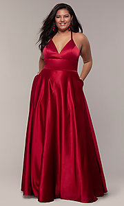 Image of a-line satin plus-size prom dress with corset. Style: FA-9466 Detail Image 3