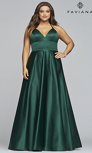 A-Line V-Neck Satin Plus-Size Prom Dress