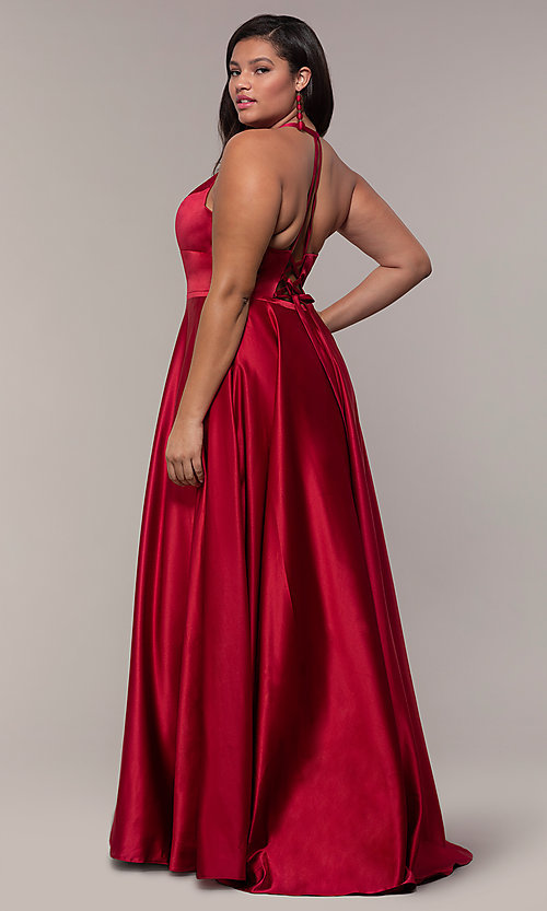Image of a-line satin plus-size prom dress with corset. Style: FA-9466 Back Image