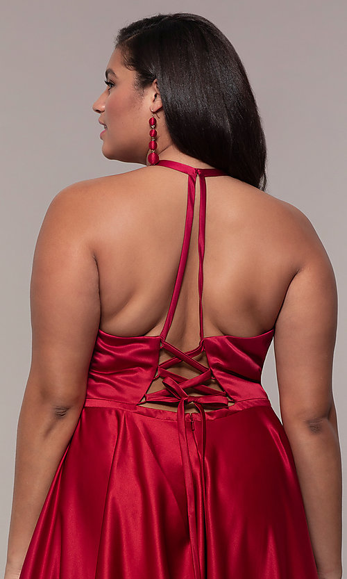 Image of a-line satin plus-size prom dress with corset. Style: FA-9466 Detail Image 2