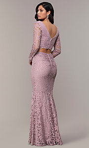 Image of two-piece long-sleeve lace prom dress by PromGirl. Style: LP-PL-90044-1 Back Image