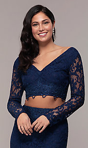 Image of two-piece long-sleeve lace prom dress by PromGirl. Style: LP-PL-90044-1 Detail Image 5