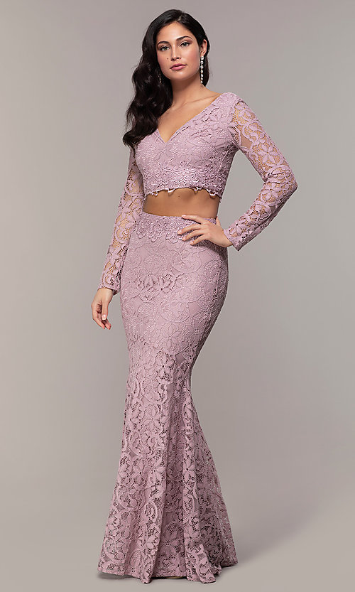 Image of two-piece long-sleeve lace prom dress by PromGirl. Style: LP-PL-90044-1 Detail Image 2