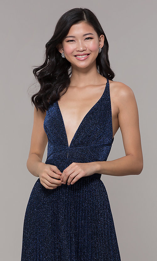 Image of long glitter navy blue prom dress by PromGirl. Style: LP-PL-25801 Detail Image 1