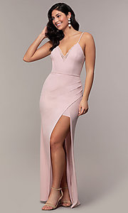 Image of lace-trimmed v-neck long prom dress by Simply. Style: LP-SD-27861 Detail Image 4