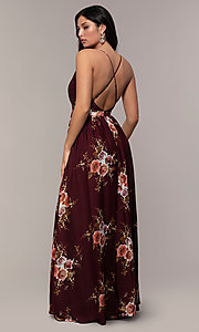 Image of a plunging-v-neck floral-print prom dress by Simply. Style: LP-SD-MG20031 Detail Image 4