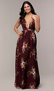 Image of a plunging-v-neck floral-print prom dress by Simply. Style: LP-SD-MG20031 Detail Image 6