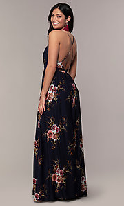 Image of a plunging-v-neck floral-print prom dress by Simply. Style: LP-SD-MG20031 Front Image