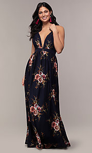 Image of a plunging-v-neck floral-print prom dress by Simply. Style: LP-SD-MG20031 Detail Image 1